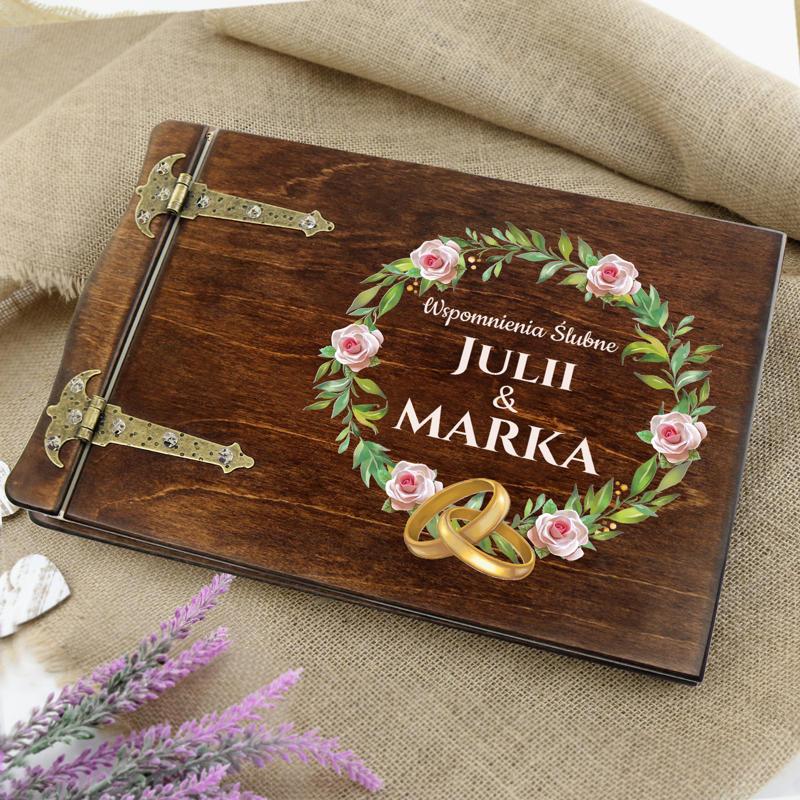 Drewniany album na prezent ślubny